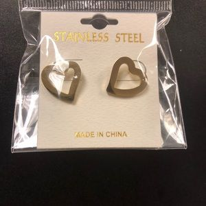 NWT Stainless Steel Gold Plate Heart Stud Earrings